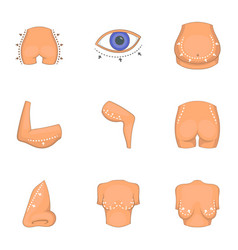 Ideal body shape icons set cartoon style vector