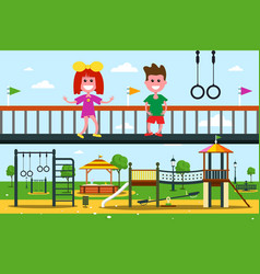 Kids on playground flat design city park cartoon vector