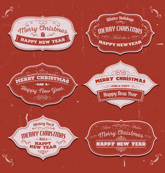 Merry christmas banners badges and frames vector