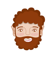 Nice man face with beard and hairstyle vector