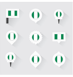 Nigeria flag and pins for infographic and map vector