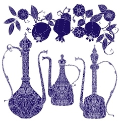Oriental patterned jugs blue vector