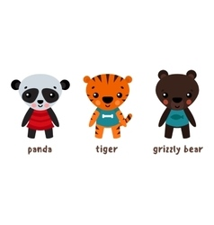 Panda or koala grizzly bear and tiger animals vector image vector image