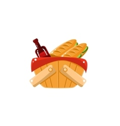 Picnic Basket With Wine vector image vector image