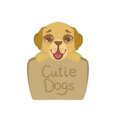 Puppy Behind Stone Sign vector image
