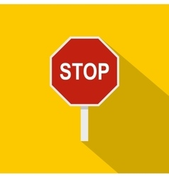 Red stop road sign icon flat style vector image