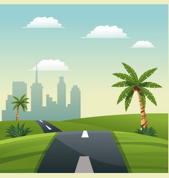 Road meadow palm tree travel vacation - city vector