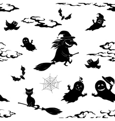 Seamless Pattern Halloween Symbols vector image vector image