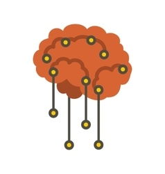 Sensors on human brain icon flat style vector