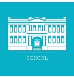 Silhouette school building in a flat vector image