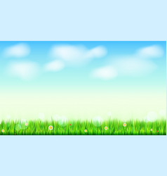 Summer landscape background green natural grass vector