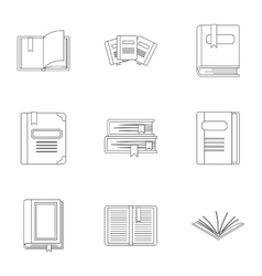 Textbooks icons set outline style vector