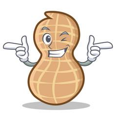 Wink peanut character cartoon style vector