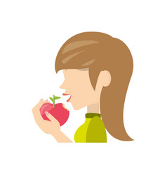 Woman eating fruit vector
