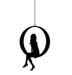 Girl silhouette siting in black color vector