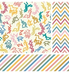 Colorful zigzag seamless set vector
