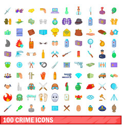 100 crime icons set cartoon style vector