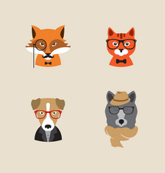 Hipster animals set of icons vector