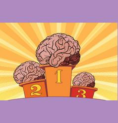 The human brain on sports podium vector