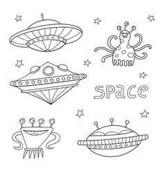 Card with space objects ufo rockets aliens and vector