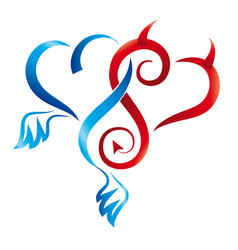 Angel and devil hearts tattoo vector