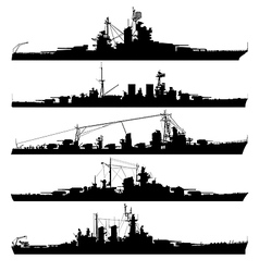 Naval warship silhouettes vector
