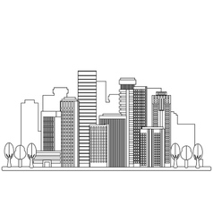 City in linear style vector