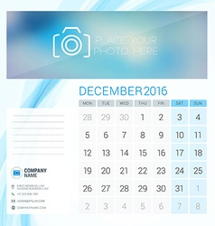Desk calendar for 2016 year december stationery vector