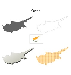 Cyprus outline map set vector