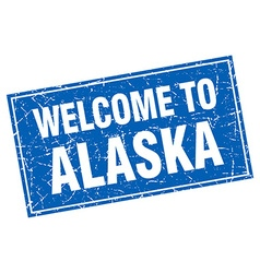 Alaska blue square grunge welcome to stamp vector