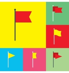 Flag flat icons set vector