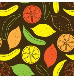 Seamless pattern of bananas and lemons vector