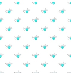 Aircraft and sky blue shield pattern cartoon style vector image