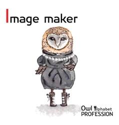 Alphabet professions Owl Letter I - Image maker vector image vector image