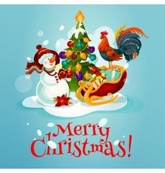 Christmas tree snowman gift greeting card design vector