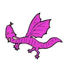 Comic cartoon little dragon vector
