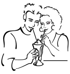 Couple in love on a date sharing a milkshake vector image