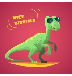 Dinosaurus cartoon toy red background poster vector