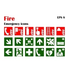 Fire emergency icons vector