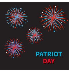 Fireworks on black sky blue text patriot day vector