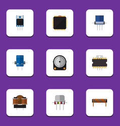 Flat icon device set of cpu resist bobbin and vector