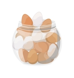 full color container with eggs vector image