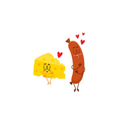 Funny cheese chunk and frankfurter sausage vector