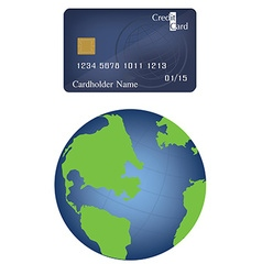 Globe and card vector image vector image