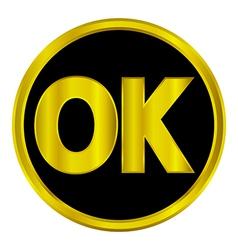 Gold ok button vector