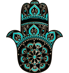 Golden black hamsa vector