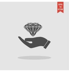 Hand and diamond icon vector image