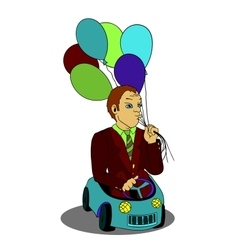 Man with balloons in the toy car cartoon vector