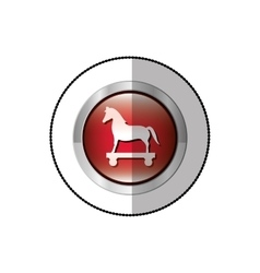 Middle shadow sticker of trojan horse in circle vector