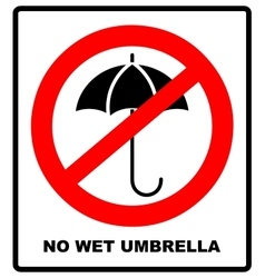 No Umbrella with water drops Rain protection vector image